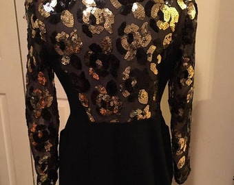 Black and Gold - Vintage Blazer - 'Carriage Trade' Brand 1970s - Size 6
