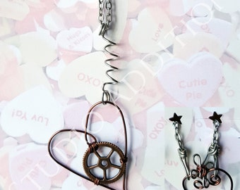 Steampunk Heart Necklace, Gear Heart Pendant, Tin and Antique Copper Tone, Wire Work Jewelry