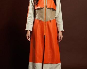 Color Block Orange-Beige-White Natural Leather Coat (Designer's Signature Coat)