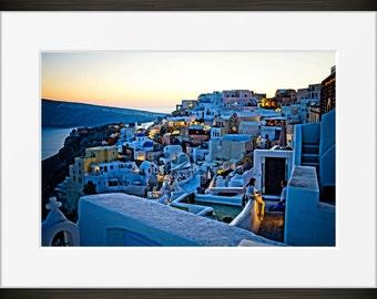 Santorini Oia print photo, Greece dusk sunset photography, Europe, fine art, wall art, home decor, HDR.