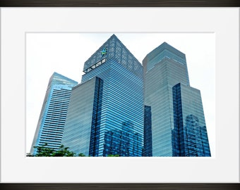 Modern architecture print urban Singapore glass blue chrome photo, photography, fine art, wall art, home decor, metallic HDR city windows