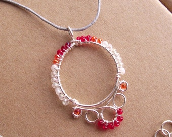 Beaded Folk Art Ethnic Necklace / Pendant - Red - Hand crafted, traditional, Hungarian, Unusual, Wire Jewelry