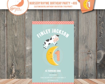 Cow Jumped Over The Moon Birthday Invitation - 4x6