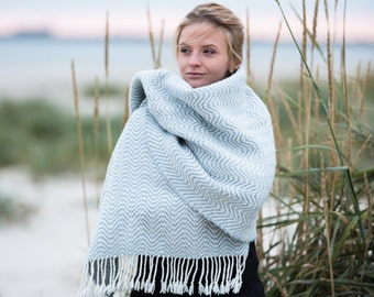 Handwoven Maxi Scarf Merino, Alpaca Wool blend Natural & Warm material made in Italy