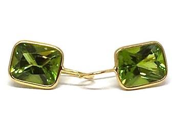 Peridot Earrings Gold Peridot Earrings Cushion Cut Peridot August Birthstone Peridot Jewelry Minimalist Earrings Womens Gift for Wife Her