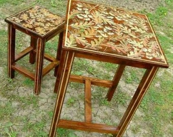 Hand painted table and chair set Handmade futniture Wooden hand painted furniture