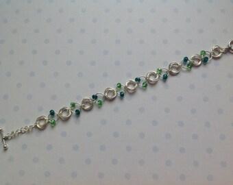 Silver bracelet, chain mail bracelet, silver&agreed bracelet