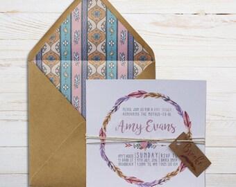 Boho baby shower / bridal shower printed invitations