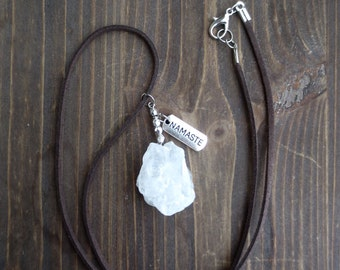 Faux Leather Necklace with Quarz gemstone and Namaste pendant
