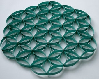 Flower of Life Wall Decor - Sea Glass Green and Pearl - Upcycled
