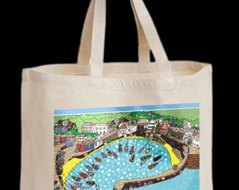 Shopping bag, with harbor design, strong shoulder shopper, tote,  safe haven, cotton canvas bag. Recycle and save the world of plastic bags