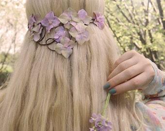 HORTENSIA - flower wreath, Elf Crown, wedding, Bridal wreath, Bridal jewelry, summer, boho,