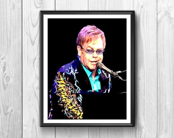 Beautiful poster of the singer Elton John, watercolor, wall poster