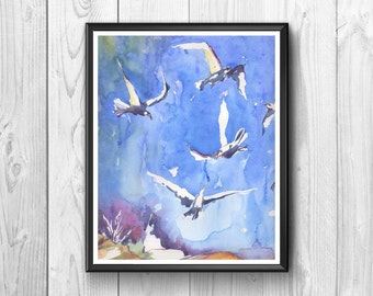 Seagulls in flight, stylized, painted in watercolor
