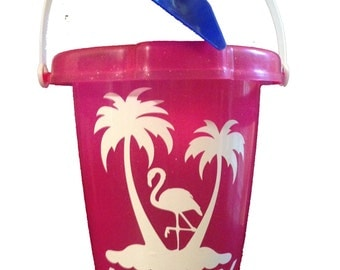 Personalized Pink Sand Bucket/Pail With Blue Shovel
