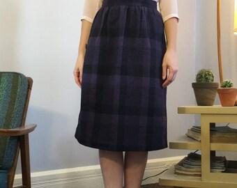 Vintage 1980s Purple/Black Plaid A-Line Knee Length Wool Blend Skirt Size Small