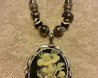 Bone and Onyx Handcrafted Necklace
