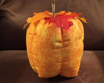 Tall Pumpkin-bright orange & yellow fabric, Ready to Ship