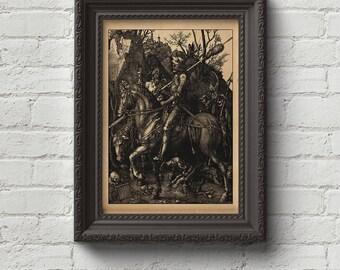 Knight, Death and the Devil - Albrecht Durer Print, Wall Art, Art, Woodcut, Engraving, Renaissance, Gustave Dore, Dürer, Cute Gift