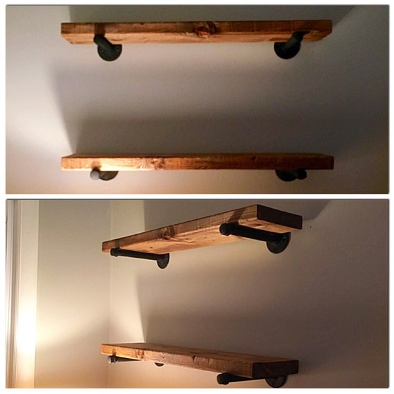 Rustic Wood Shelves With Iron Piping By Rusticandrefinedco