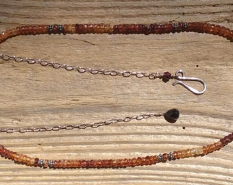 Bohemian necklace, sterling silver, hessonite necklace, garnet necklace