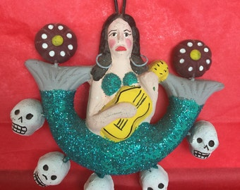 Day of the dead ceramic mermaid