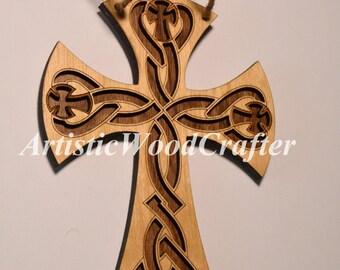 Wooden Cross Wall Decor (Birch/Walnut)