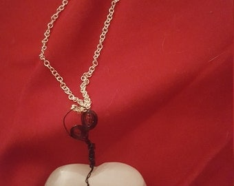 Wire wrapped onyx heart necklace