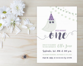 Owl First Birthday Invitation/Purple and Mint Green Invite/Baby 1st Birthday/Modern/One Invites/Party/Celebration/Little Girl/Little Boy