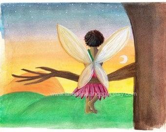 Sunrise Fairy {Gouache Print 5X7}