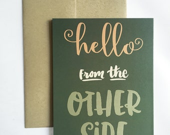 Hello From the Other Side Greeting Card / Adele Greeting Card / Hello Just Because Card / Funny Adele Card / Design on Back of Card