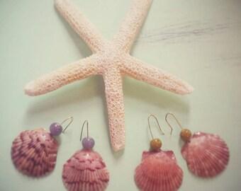 Real shell mermaid earrings small