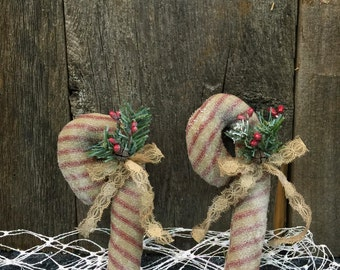 Primative Fabric Candy Canes with Tea Stained Lace Bow Set of 2 Red & Tan Stripe Canes