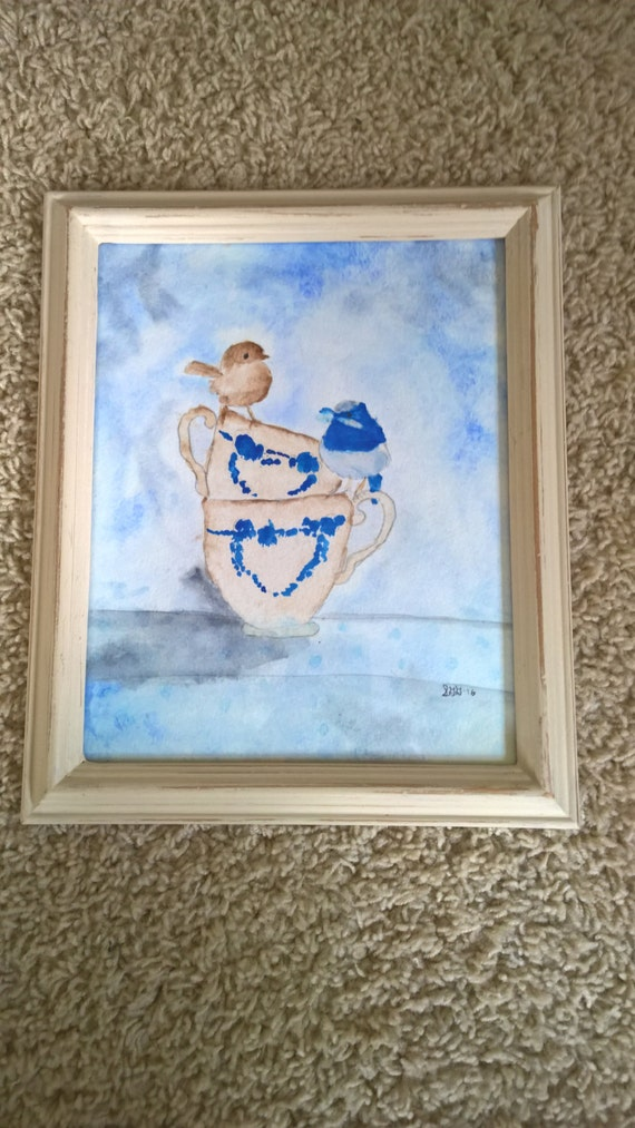 Original Hand Painted Watercolor Birds and Teacups 8x10 Framed