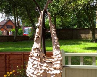 Real Leather Handbag - Beige