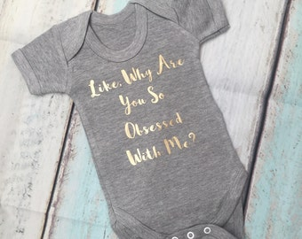 Like Why Are You So Obsessed With Me Gold Metallic Print Grey Vest Bodysuit Onesie