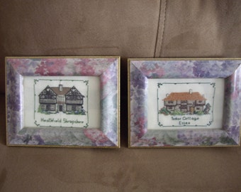 Two Framed Cross Stitch Cottages