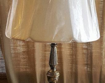 Vintage Brown Glass Globe Retro Table Lamp