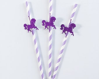 Carousel Horse Party - Carousel Party - Merry Go Round Party - Carousel Horse - Paper Straw - Birthday Party