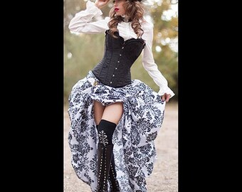 Ready to ship Black Satin Corset with Black & White Damask Bustle Skirt for Steampunk, Victorian, costume, Cosplay  dress-up