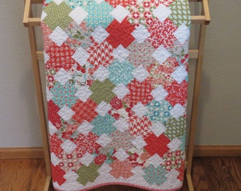 Baby Quilt Red and Aqua Cross