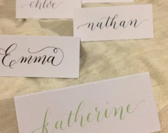 Custom Handwritten Watercolour Calligraphy Place Cards. Watercolour or gold writing