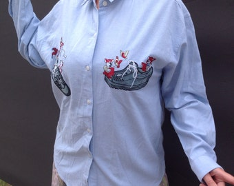 90s embroidered chambray denim shirt
