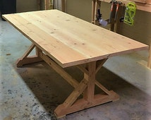 Natural Farmhouse Table Unfinished Handmade Rustic Wood