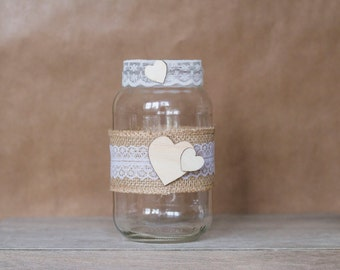 Rustic Two Hearts Jar - Large