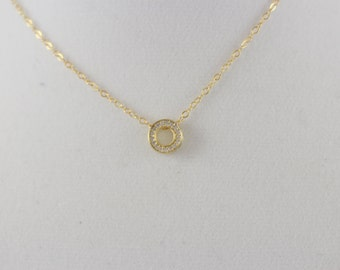 20% Off CZ 14K Gold Fill Circle Charm Necklace BP4035