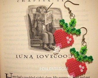 Cute mini Perler Bead red radish earrings - hama beads - pixel art geek jewelry 8 bit mini beads green pink