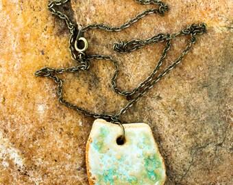 sea-green / white ceramic pendant necklace