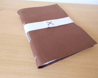 Light tan rustic leather journal - elastic strap