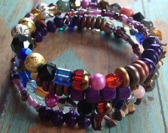 Layered Purple Southwest Boho Bracelet, Stone Boho Bracelet, Southwest Bracelet, Jewelry. Bracelet